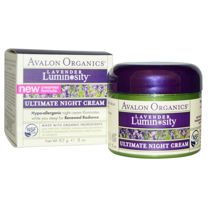Avalon Organics, Ultimate Night Cream, Lavender Luminosity, 57 grams