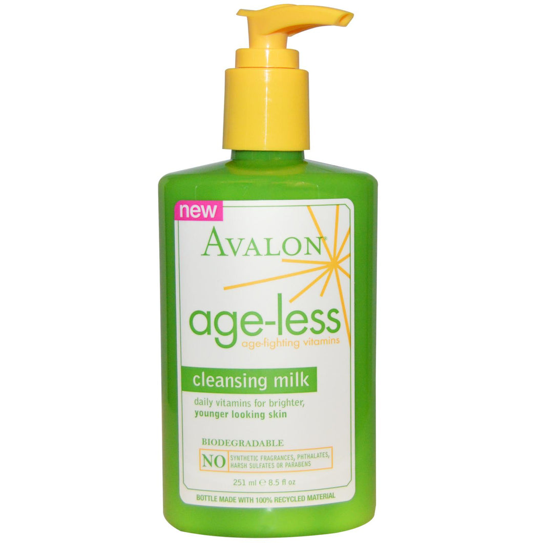 Avalon Organics, Cleansing Milk, Age-Less, Age-Fighting Vitamins, 251ml