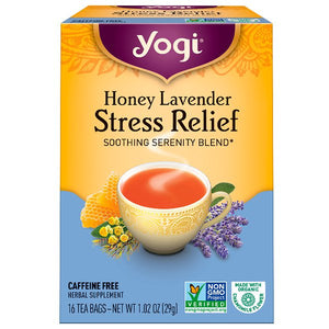 Yogi Tea, Organic, Honey Lavender Stress Relief, Caffeine Free, 16 Tea Bags, 1.02 oz (29 g)