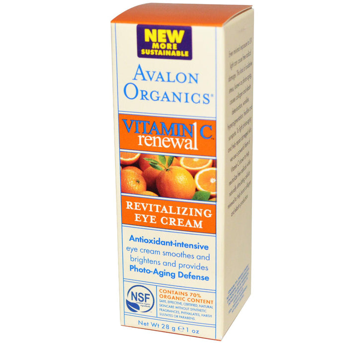 Avalon Organics, Vitamin C Renewal, Revitalising Eye Cream, 1 oz, 28 grams