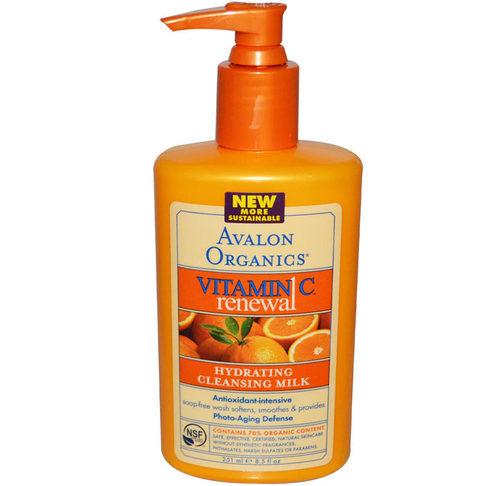 Avalon Organics, Vitamin C Renewal, Hydrating Cleansing Milk, 8.5 oz, 251ml