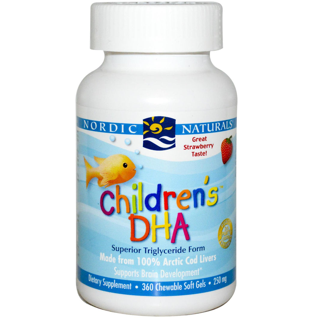 Nordic Naturals Children's DHA Strawberry 250mg 360 Chewable Soft Gels