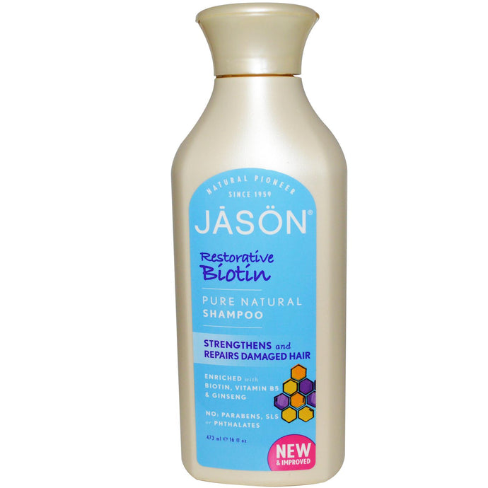 Jason Natural, Pure Natural Shampoo, Restorative Biotin, 16 fl oz, 473ml