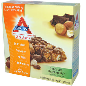Atkins, Day Break, Morning Snack/Light Breakfast, Chocolate Hazelnut Bar, 5 Bars, 40 Grams Each