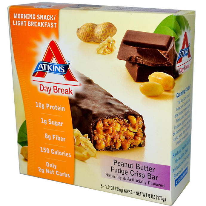 Atkins, Day Break, Morning Snack/Light Breakfast, Peanut Butter Crisp, Fudge Crisp Bar, 5 Bars, 35 g Each