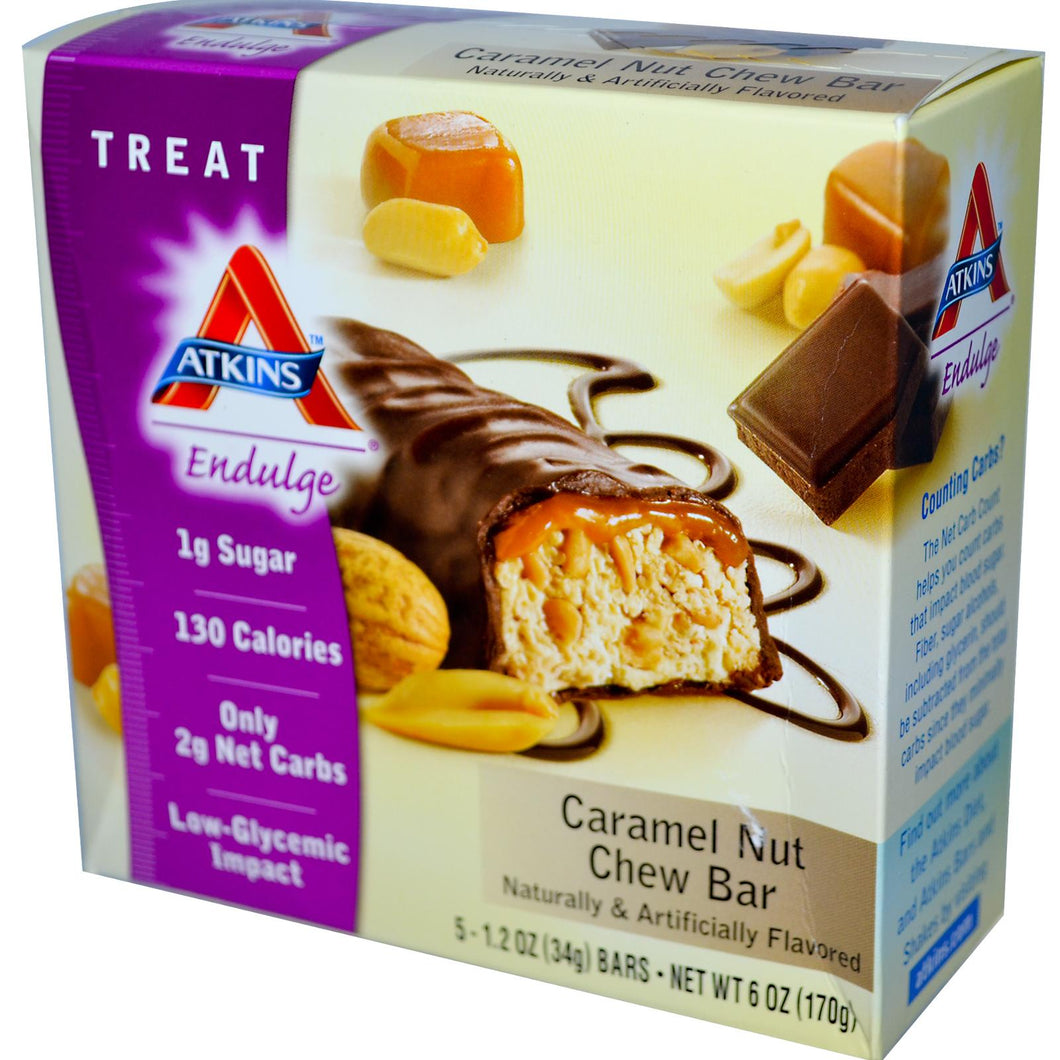 Atkins Endulge, Caramel Nut Chew, 15 Bars, 40 g Each