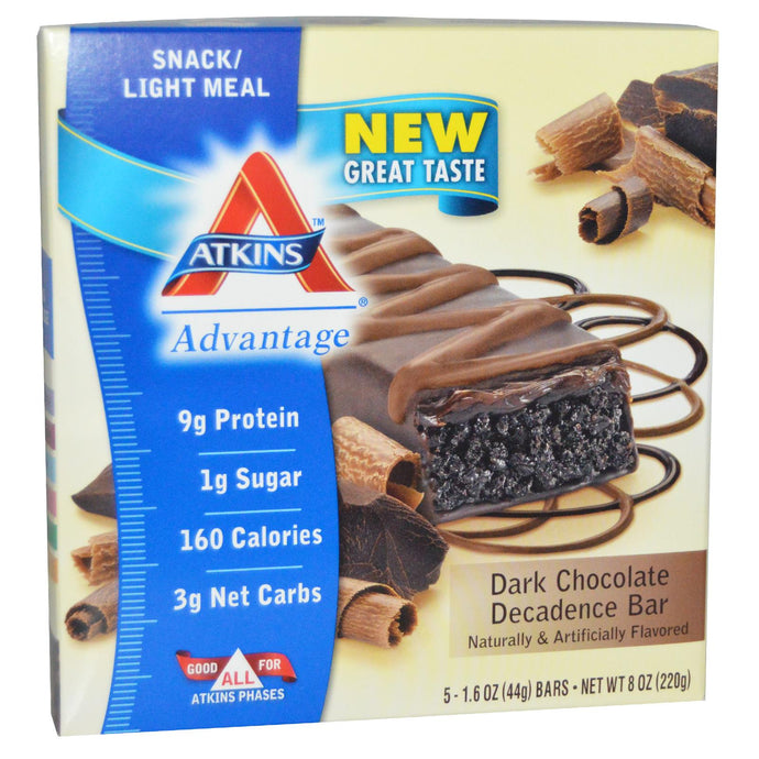 Atkins Advantage, Dark Chocolate Decadence Bar, 15 Bars, 44 g Each