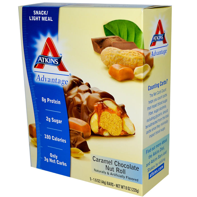 Atkins, Advantage, Caramel Chocolate Nut Roll, 15 Bars, 44g Each