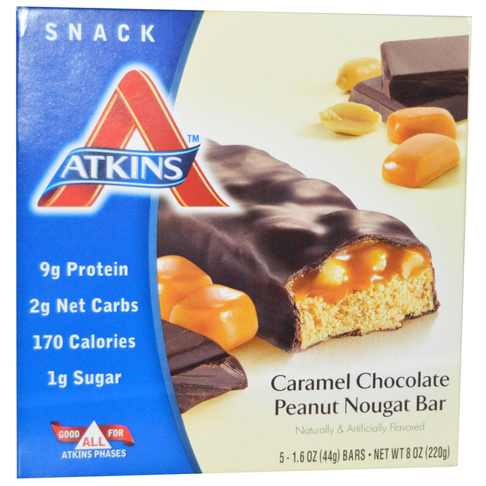 Atkins, Caramel Chocolate Peanut Nougat Bar, 15 Bars, 44 g Each