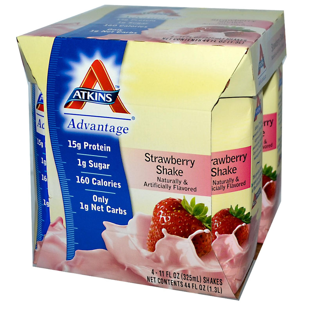 Atkins Advantage Strawberry Shake 4 Shakes 325ml Each