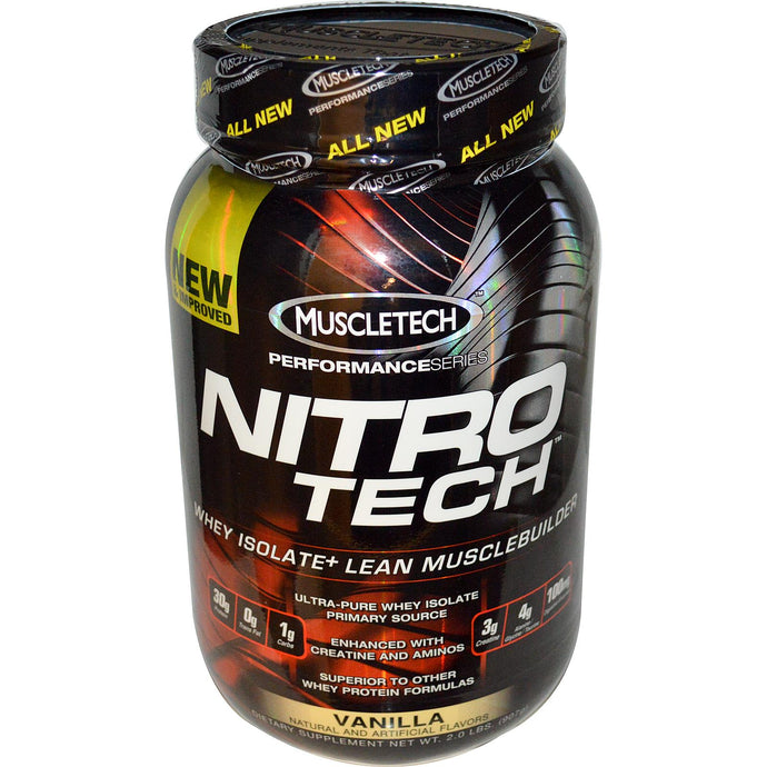 Muscletech Nitro-Tech Whey Isolate + Lean Muscle Builder Vanilla 2.0 lbs 907 g