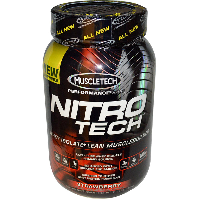 Muscletech Nitro-Tech Whey Isolate + Lean Muscle Builder Strawberry 2.0 lbs 907 g