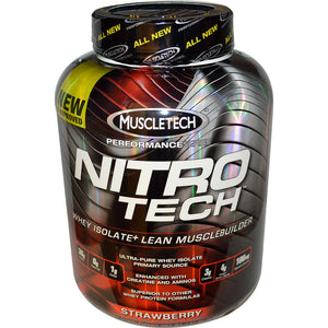 Muscletech Nitro-Tech Whey Isolate + Lean Musclebuilder Strawberry 3.97 lbs 1.8 kgs