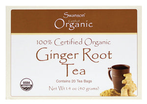 Swanson, 100% Certified Organic Ginger Root Tea, 20 Tea Bags, 40 gs