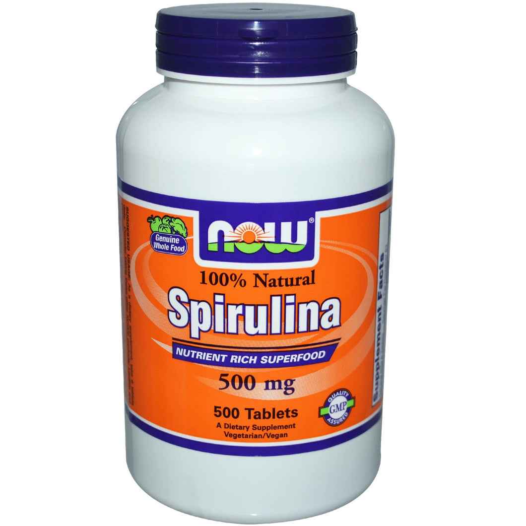 Now Foods 100% Natural Spirulina 500 mg 500 Tablets