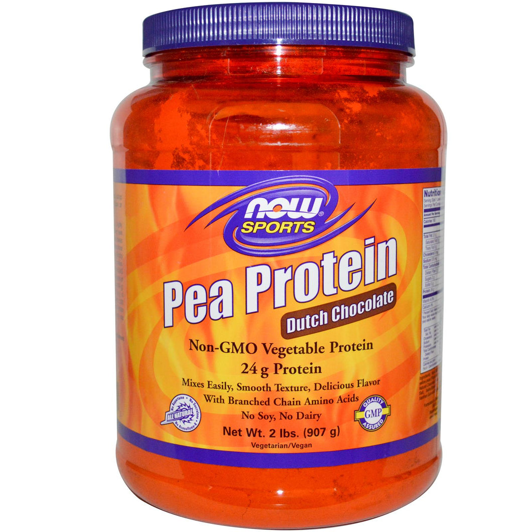Now Sports Pea Protein Dutch Chocolate 2 lbs 907g - Protein Supplement