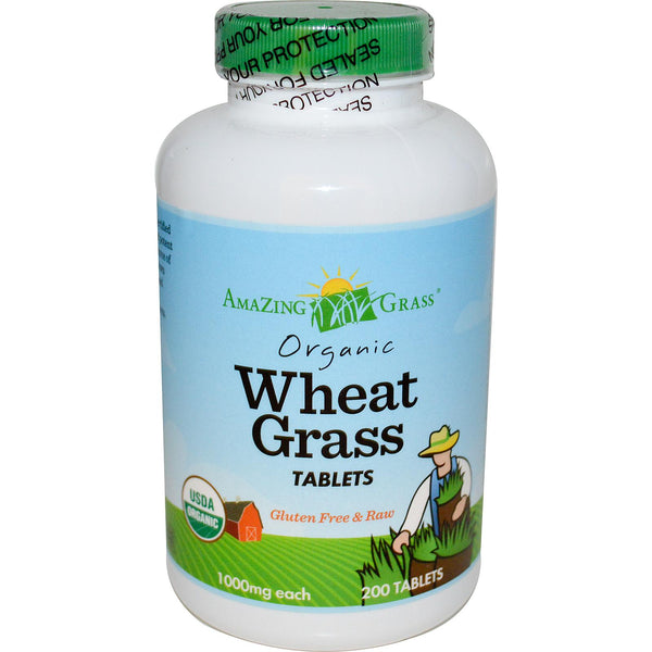 Amazing Wheat Grass, Organic Wheat Grass Tablets, 1000 mg, 200 Tablets