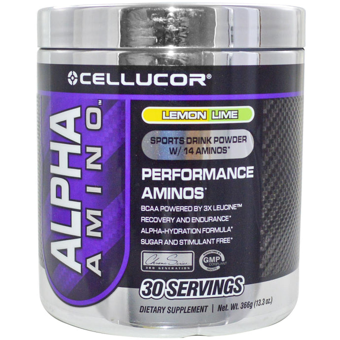 Cellucor, Alpha Amino, Sports Drink Powder, Lemon Lime, 366 g