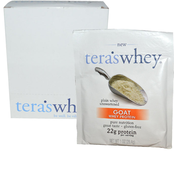 Tera's Whey Goat Whey Protein Plain & Unsweetened 12 Sealed Packets 28.4g Each