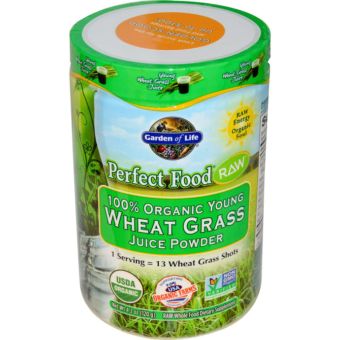 Garden of Life, Perfect Food RAW, 100% Organic Young Wheat Grass Juice Powder, 120 g