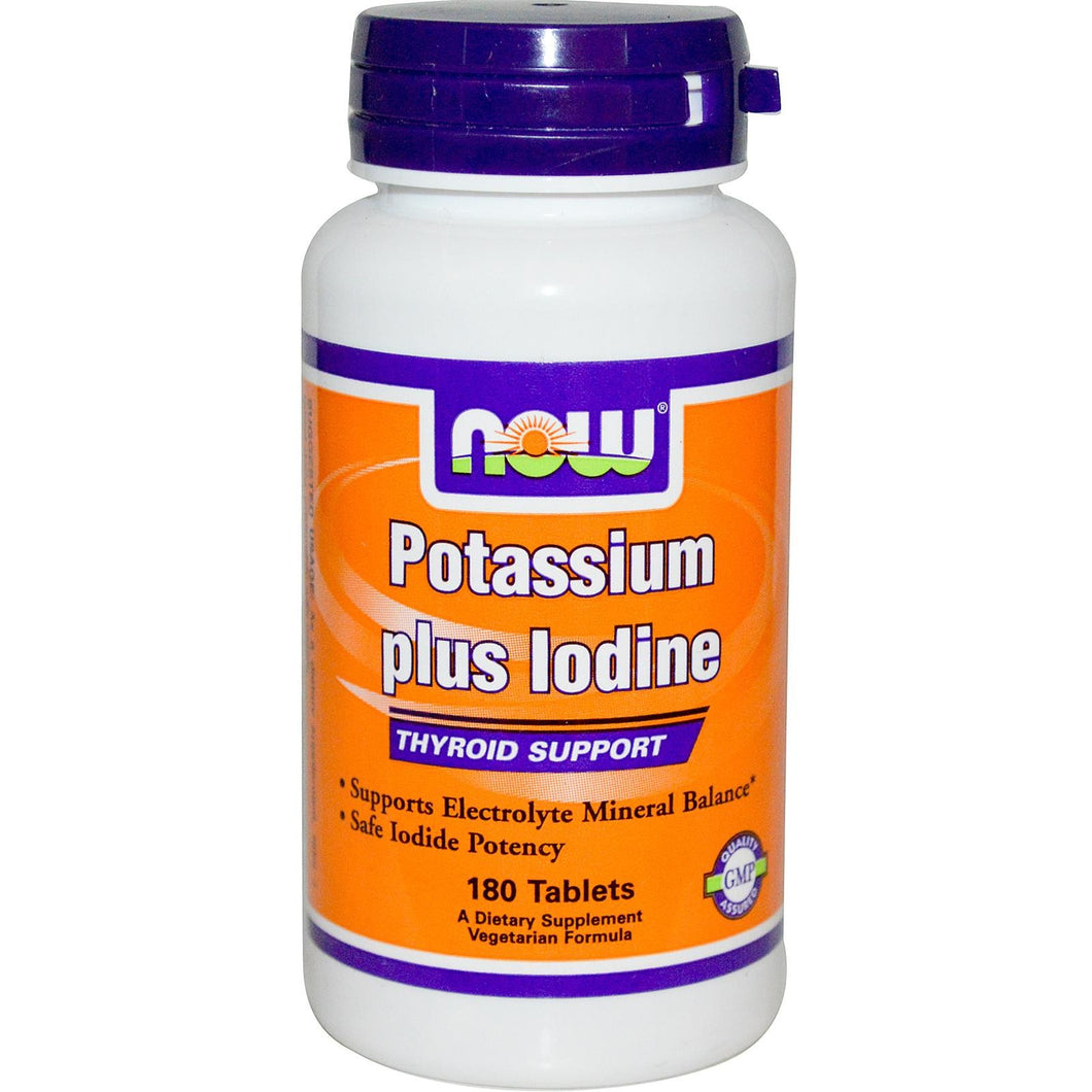 Now Foods, Potassium Plus Iodine, 180 Tablets - Thyroid Support