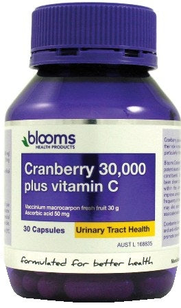 Blooms Health Products, Cranberry 30,000 + Vitamin C, 30 Capsules