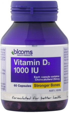 Blooms Health Products, Vitamin D3, 1000 IU 60 Capsules