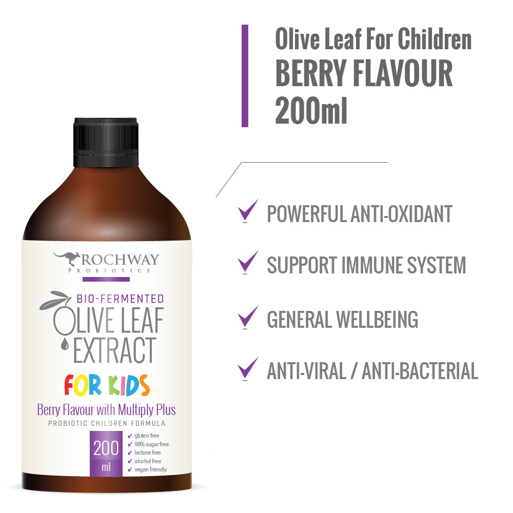 Rochway, Olive leaf extract for children, 200 ml berry flavour