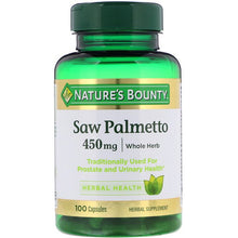 Load image into Gallery viewer, Nature's Bounty, Saw Palmetto, 450 mg, 100 Capsules
