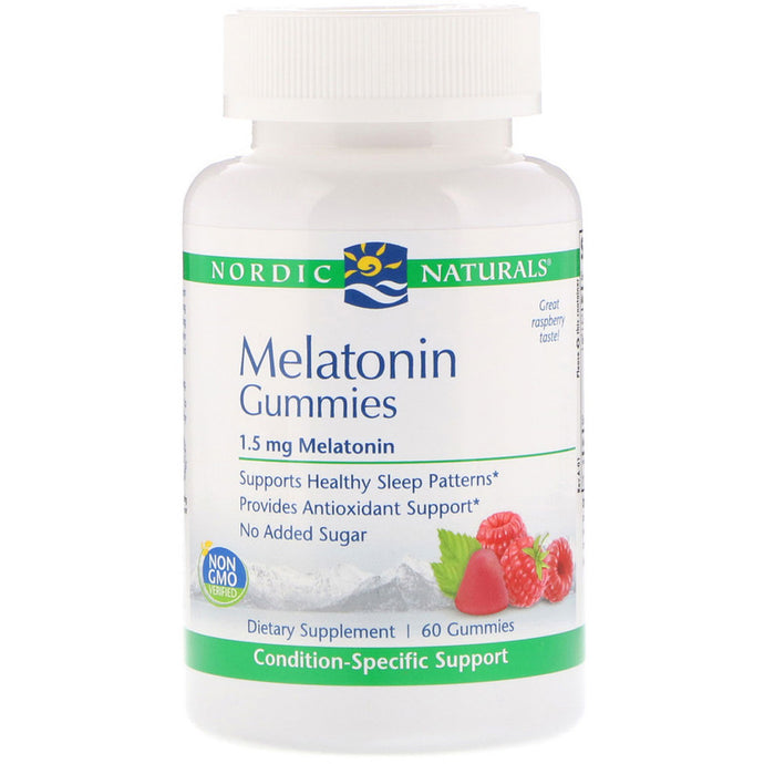 Nordic Naturals, Melatonin Gummies, Raspberry, 1.5 mg, 60 Gummies