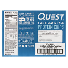 Load image into Gallery viewer, Quest Nutrition, Tortilla Style Protein Chips, Ranch, 8 Bags, 1.1 oz (32 g ) Each