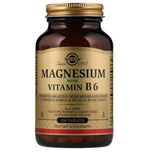 Load image into Gallery viewer, Solgar, Magnesium, with Vitamin B6, 250 Tablets
