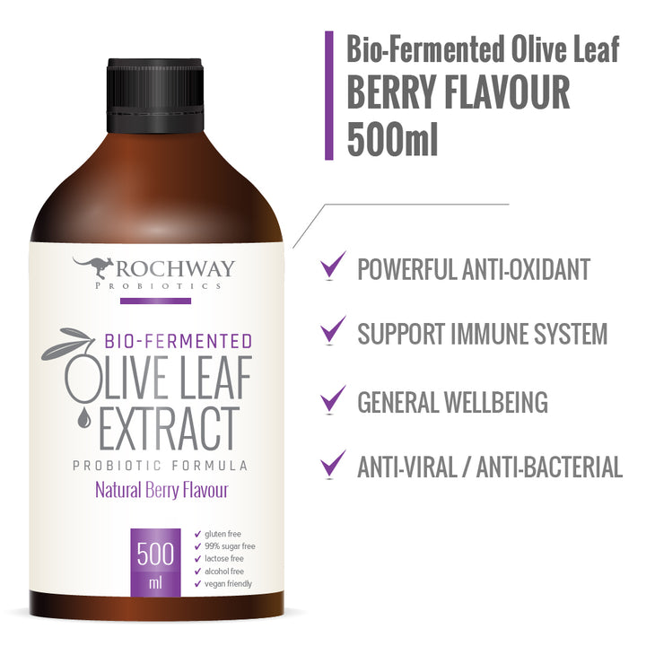 Rochway Olive Leaf Extract 500 ml Natural Berry Flavour