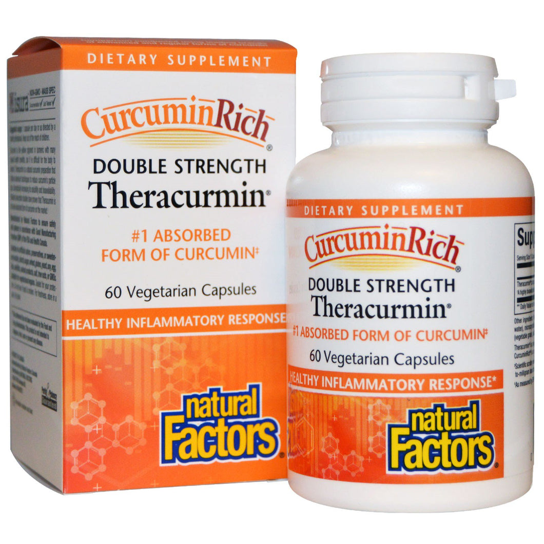 Natural Factors, CurcuminRich, Double Strength, Theracurmin, 60 mg, 60 VCaps
