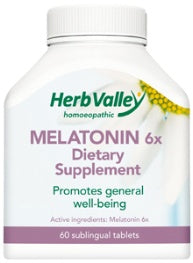 Herb Valley Homoeopathic Melatonin 6 x (3 mg) 60 Tablets