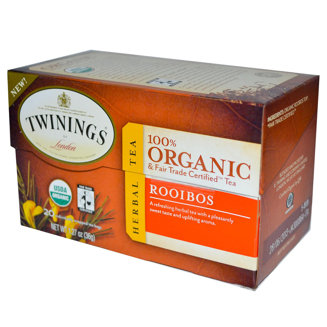 Twinings, 100% Organic Herbal Tea, Rooibos, 20 Tea Bags, 36 g