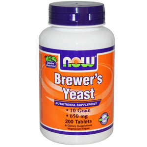 Now Foods, Brewer's Yeast, 650 mg, 200 Tablets - Dietary Supplement