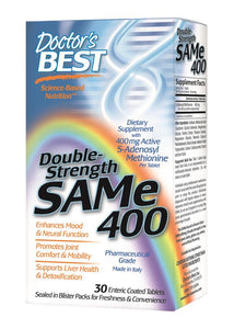 Doctor's Best SAMe 400 Double Strength 30 Enteric Coated Tablets