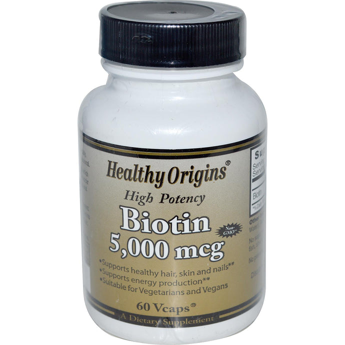 Healthy Origins, Biotin, High Potency, 5000 mcg, 60 VCaps