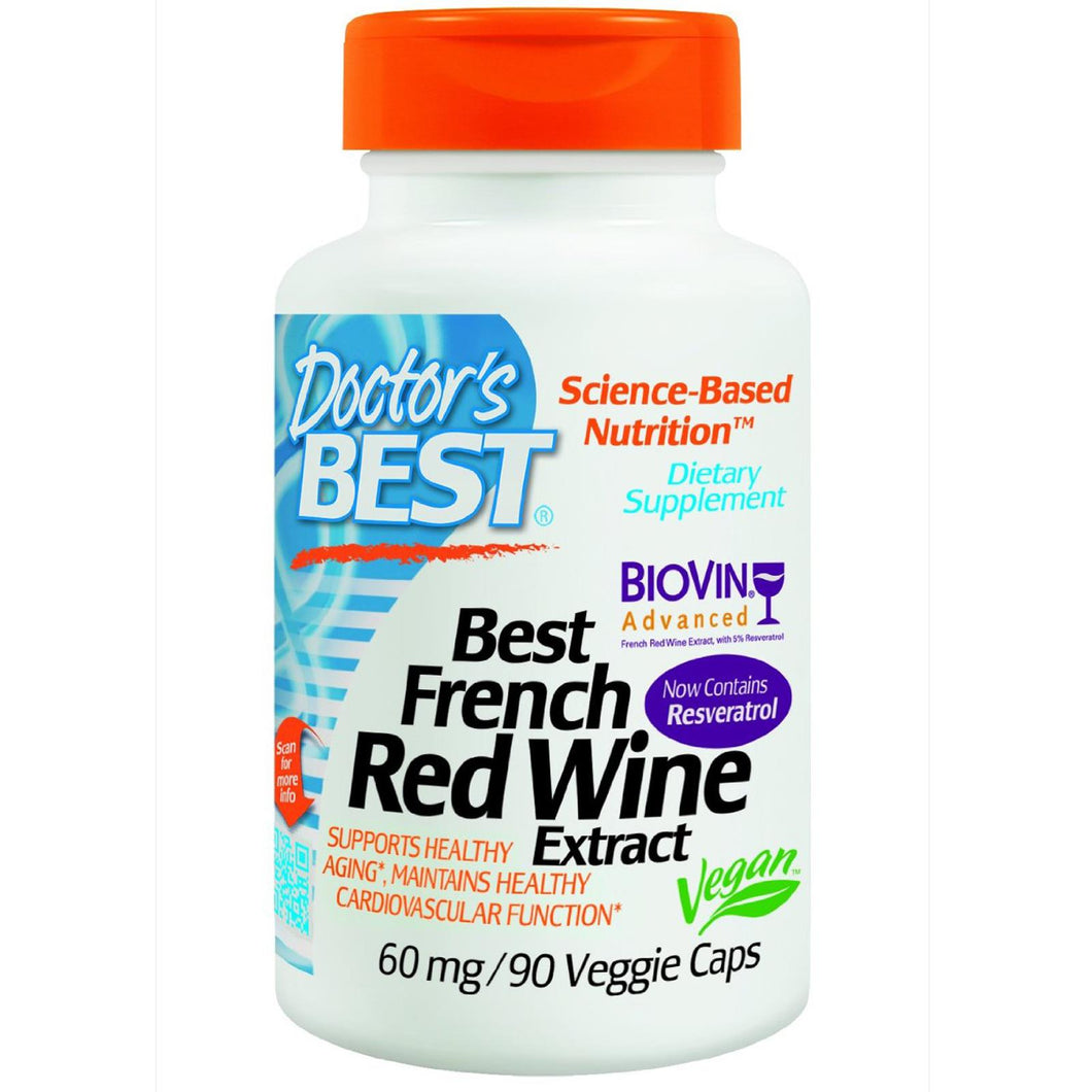 Doctor's Best, Best French Red Wine Extract, 60 mg, 90 VCaps