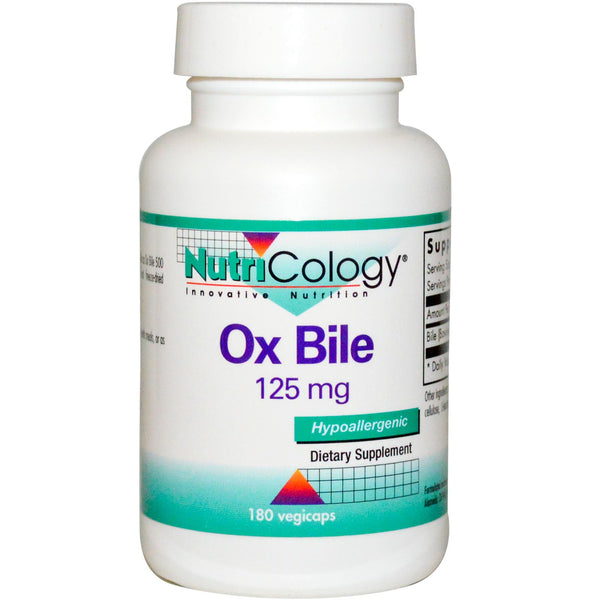 Nutricology Ox Bile 125 mg 180 VCaps - Dietary Supplement