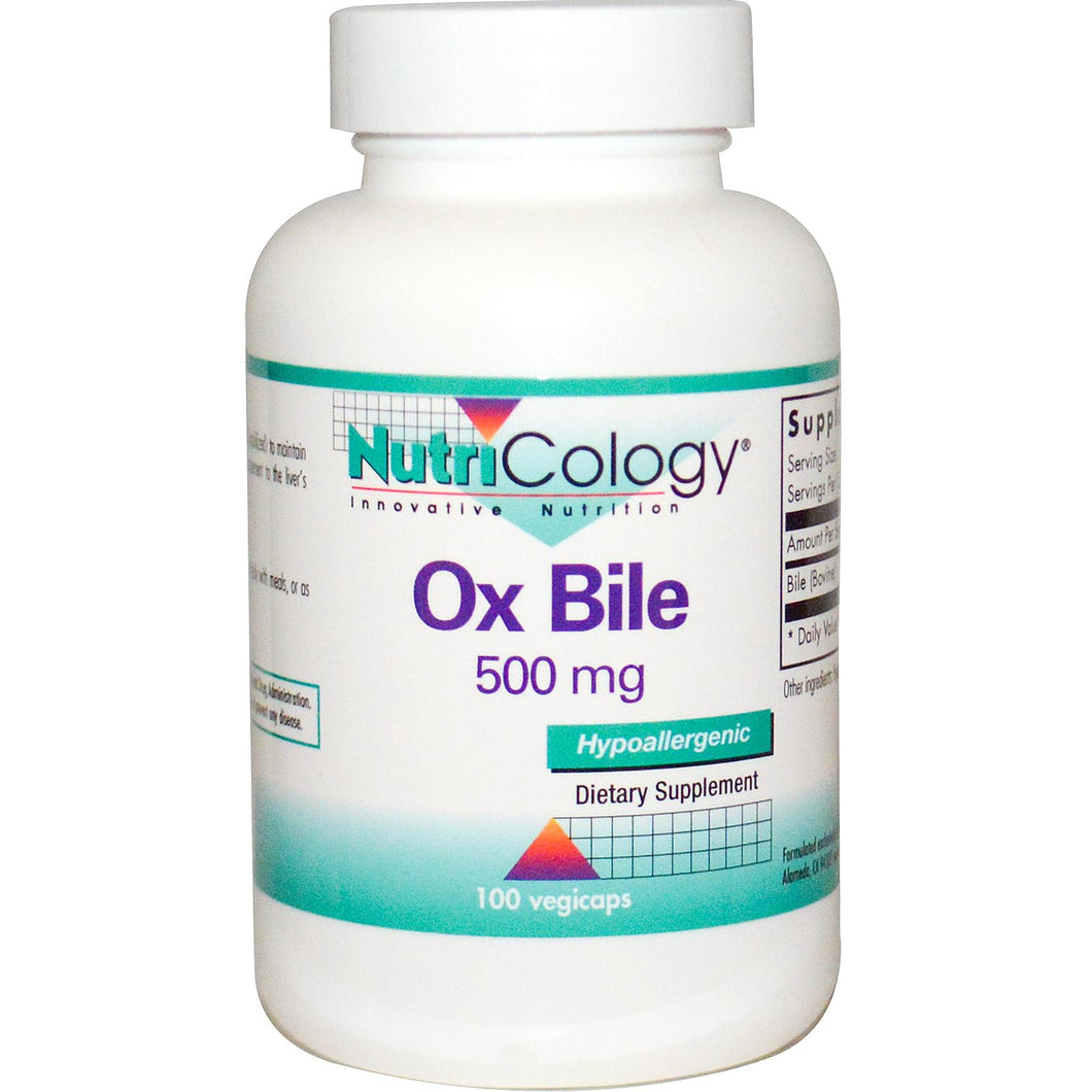 Nutricology Ox Bile 500mg 100 VCaps - Dietary Supplement