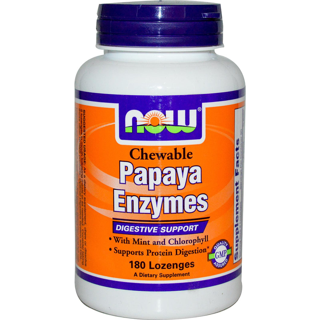 Now Foods, Papaya Enzymes, Chewable, 180 Lozenges