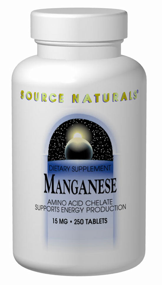 Source Naturals Manganese 10mg 250 Tablets - Dietary Supplement