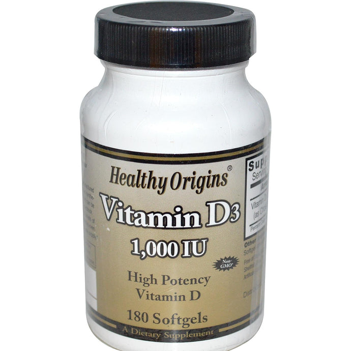 Healthy Origins, Vitamin D3, 1000 IU, 180 Softgels