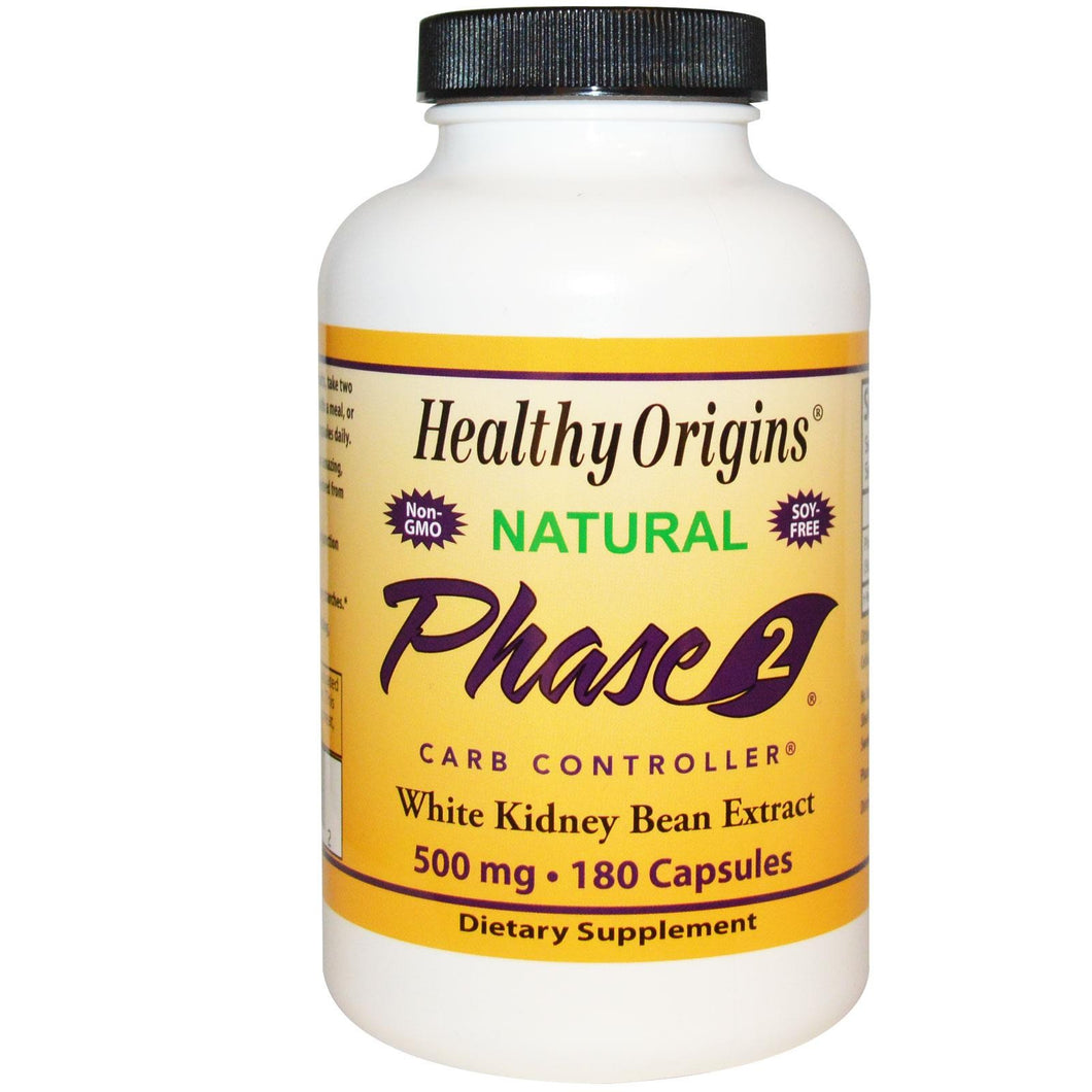 Healthy Origins, Phase 2 Carb Controller, White Kidney Bean Extract, 500 mg, 180 Capsules