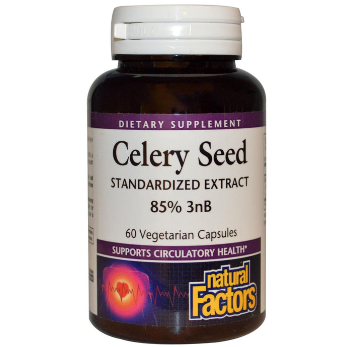Natural Factors, Celery Seed, Standardised Extract, 60 VCaps