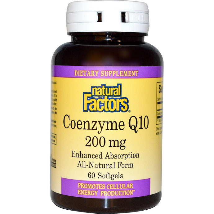 Natural Factors,CoEnzyme Q10, 200 mg, 60 Softgels - Dietary Supplement