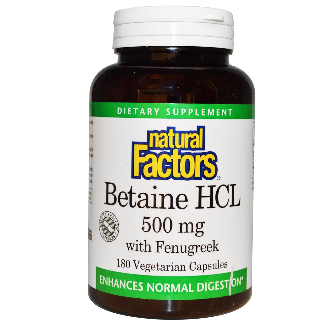 Natural Factors, Betaine HCL, with Fenugreek, 500 mg, 180 VCaps