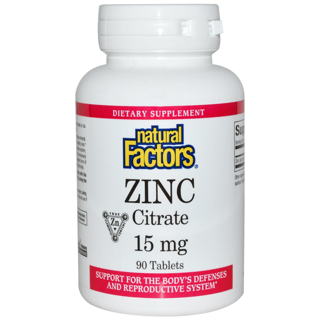 Natural Factors, Zinc Citrate, 15 mg, 90 Tablets - Dietary Supplement